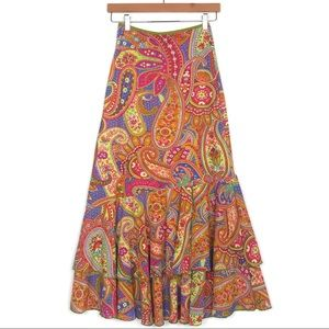 2d40db5b4 Double D Ranch Paisley Boho Ruffled Maxi Skirt XS